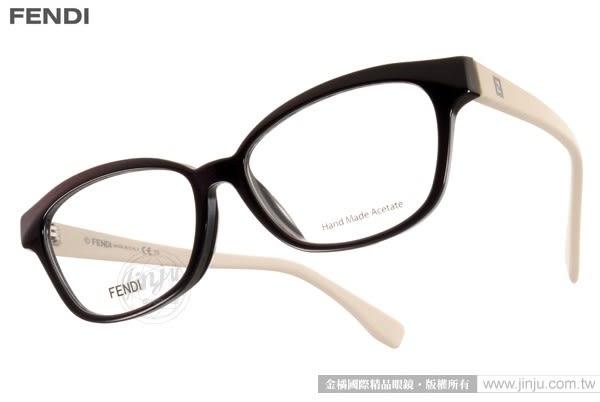 FENDI 光學眼鏡 FS0046F MGX (棕-白) 奢華經典質感小貓眼款 # 金橘眼鏡