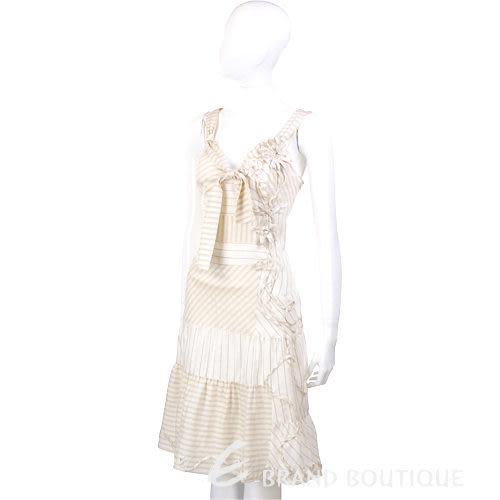 MOSCHINO 條紋花朵飾洋裝(米色) 0720097-03