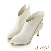 amai頂級牛皮-慾望城市美型V口細跟靴 杏白