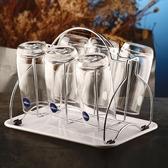 水杯架玻璃杯子架瀝水盤家用收納架子杯架帶托盤放茶杯掛架6只裝  ATF  魔法鞋櫃
