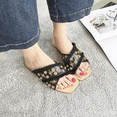 拖鞋 百搭交叉半拖鞋女新款韓版小蜜蜂平底一字拖鞋女夏時尚外穿  艾美時尚衣櫥