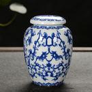 青花寵物骨灰瓷罐陶瓷茶葉罐...