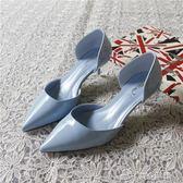 夏新款中低跟細跟女單鞋5cm尖頭淺口中空漆皮高跟鞋OL職業鞋 ciyo黛雅