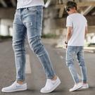 牛仔褲 微刷色無破素面彈性合身版九分牛仔褲【NB0880J】