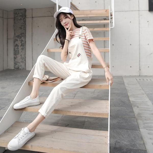 促銷九折 網紅背帶褲女夏季新款韓版學生洋氣寬松顯瘦九分連體牛仔褲潮