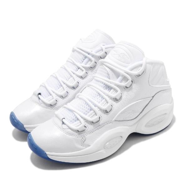 Reebok 籃球鞋 Question Mid 白 全白 男鞋 果洞底 運動鞋 復古 休閒鞋 【PUMP306】 EF7598