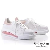 Keeley Ann我的日常生活 俏皮韓系氣墊全真皮休閒鞋(粉紅色) -Ann系列