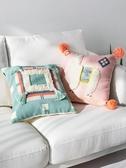 北歐輕奢流蘇沙發抱枕靠墊正方形卡通可愛臥室靠枕客廳高檔樣板間