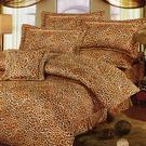 台灣製-野性豹紋 雙人特大(6x7呎)四件式鋪棉兩用被床包組-咖啡色[艾莉絲-貝倫]T4HT-791-CF-L