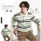 【大盤大】(P05512) 男 加厚 長袖口袋POLO衫 冬 現貨 橫條紋棉衫 保暖衣 發熱衣【僅剩M號】