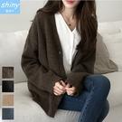 【V3193】shiny藍格子-輕熟質感.純色V領針織長袖外套
