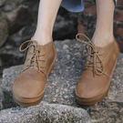 牛皮短靴-夢想家-森女系復古風格大頭系帶休閒馬丁靴/2色-正常碼-0825