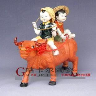 景德鎮 陶瓷器 動物工藝品 牧童騎牛