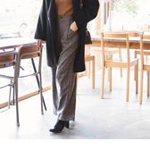 《BA3745》英倫細格紋高腰俐落寬版褲 OrangeBear