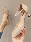 高跟鞋涼鞋女2021春季新款一字扣帶單鞋細跟百搭小清新尖頭女鞋子 伊蘿