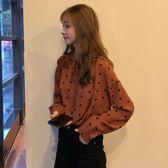 初秋襯衣2018韓版新款氣質百搭波點寬鬆顯瘦襯衫上衣學生氣質女裝