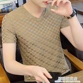 2021新款男士V領體恤夏季韓版潮季冰絲短袖t恤ins潮牌冰感半袖男 極簡雜貨