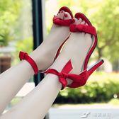 新款高跟鞋女韓版蝴蝶結一字繫帶涼鞋細跟露趾時尚百搭女鞋夏 樂芙美鞋