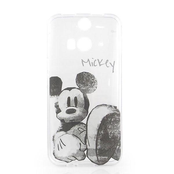 【Disney 】HTC Butterfly 2 彩繪手繪風透明保護套-水墨米奇