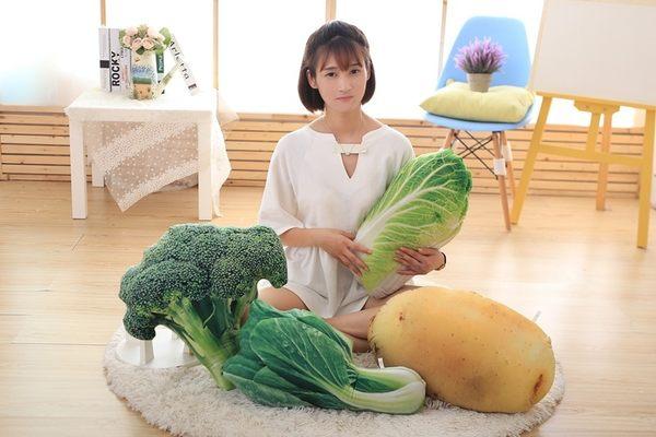 【AJ051】 創意蔬菜大白菜抱枕 3D毛絨趴睡枕 辦公室午休棉靠背腰 靠墊 青江菜 番薯 白菜 花椰菜