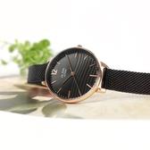 ALBA / VJ21-X168SD.AH8762X1 / 簡約時尚 流沙紋理 藍寶石水晶玻璃 米蘭編織不鏽鋼手錶 黑x玫瑰金框 32mm