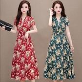 碎花洋裝 連衣裙女中長款2021夏季新款寬鬆大碼洋氣媽媽裝短袖碎花長裙子夏 快速出貨