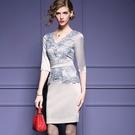 蕾絲連身裙-復古優雅婚宴禮服刺繡V領七分/短袖洋裝2色72f26【巴黎精品】