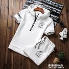 短袖男套裝修身韓版夏季2020新款潮流衛衣七分短褲學生連帽兩件套【果果新品】