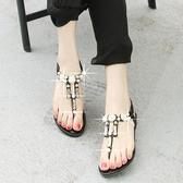 春新款串珠水鑽厚底楔形涼鞋女平底平跟波西米亞學生夾腳趾沙灘鞋 美芭