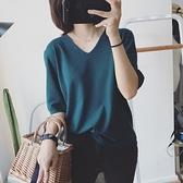 港風ins超火素色V領針織短袖T恤女夏韓版潮寬鬆半袖冰絲t桖上衣服