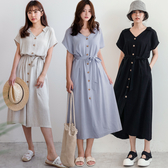 MIUSTAR 附綁帶!襯衫領側口袋木紋排釦洋裝(共3色)【NH1732】預購