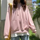 衛衣女連帽秋裝新款純色寬鬆韓版學生ulzzang長袖外套上衣 晴川生活館