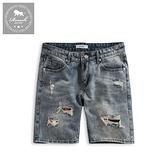 【Roush】 迷彩補丁設計水洗牛仔短褲 -【2131】