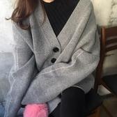 初心 純色外套 【C6601】 寬鬆 毛衣 圓釦外套 針織 開襟 外套