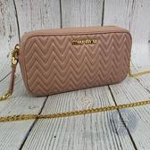 BRAND楓月 MIUMIU 5DH039 粉紅色 裸色 皮革 抓皺 相機包 鍊包 側背包