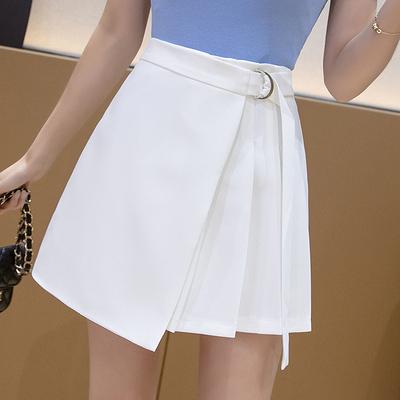 高腰短裙A字裙 現貨出清 白色L 韓版高腰顯瘦簡約不規則A字半身裙短裙8131#314E紅粉佳人