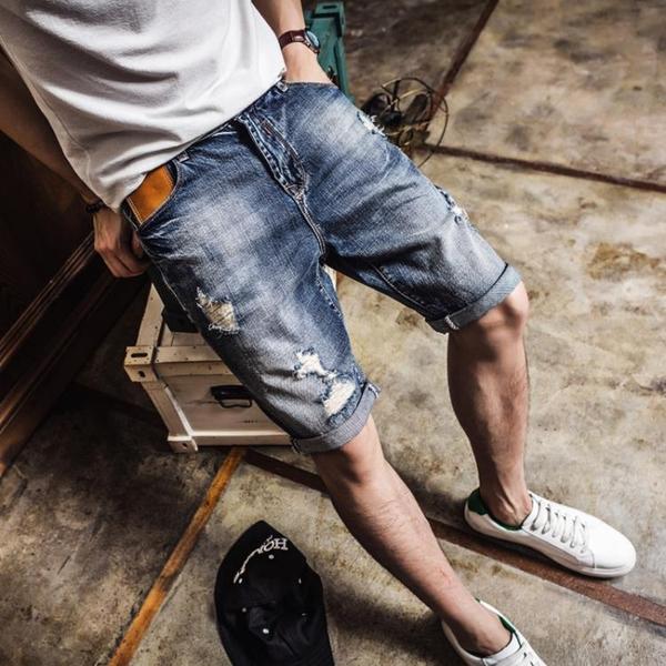 牛仔短褲男五分褲外穿破洞中褲寬鬆韓版潮流百搭男士褲子夏季薄款 陽光好物