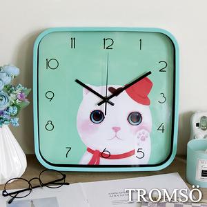 TROMSO愛心萌貓咪靜音時鐘綠