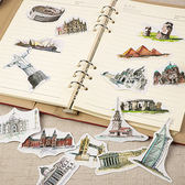 【BlueCat】世界風景歐洲古蹟建築夾鏈袋貼紙包