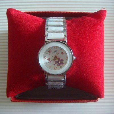 櫻花繽紛鑲鑽日本機芯防水陶瓷淑女錶(白色)/腕錶/手錶(贈錶盒)