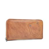 阿卡天使真皮復古率性口袋造型拉鍊錢夾(多色)原味駝W794-DY