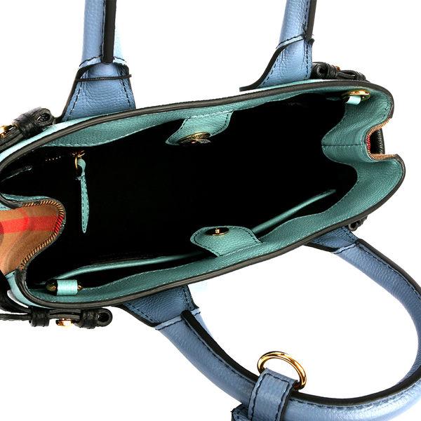 【BURBERRY】THE BANNER HOUSE格紋拼色皮革小型包(蛋白石色/石板灰藍)4053304