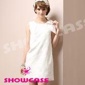 【SHOWCASE】立體玫瑰花紋 俏麗蝴蝶結顯瘦洋裝(白)