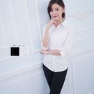 女免燙襯衫制服-純色素面七分袖白色彈性襯衫《Sebiro 西米羅男女套裝制服》001003620