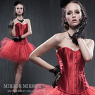 馬甲 經典紅緞布內搭型塑身馬甲-束身、表演服_蜜桃洋房