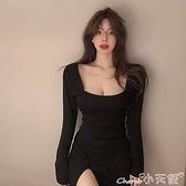 長袖洋裝 顯瘦打底氣質長袖開叉包臀短裙子女春秋季法式新款黑色a字連身裙 小天使