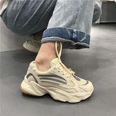 老爺鞋超火反光鞋韓版街拍復古厚底老爹鞋百搭學生休閒運動鞋女伊芙莎