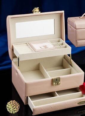 首飾盒公主歐式韓國首飾收納盒珠寶首飾化妝盒帶鎖送結婚生日禮物