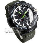 EXPONI 創意潮流時尚雙顯示電子腕錶 大錶徑 大錶面 夜光多功能 男錶 學生錶 軍錶 黑x綠 EX3252綠