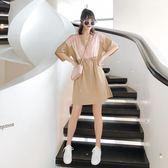 連衣裙女夏季2018新款復古港味V領寬松收腰ins超火慵懶風chic裙子